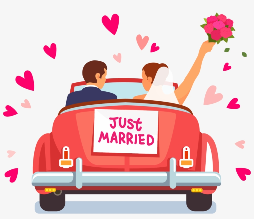 royaltyfree art marriage  just married car clipart
