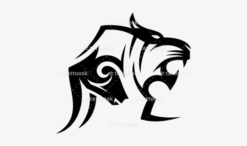 Tiger Tattoos Clipart Simple Tiger Tribal Tattoo Head 450x403
