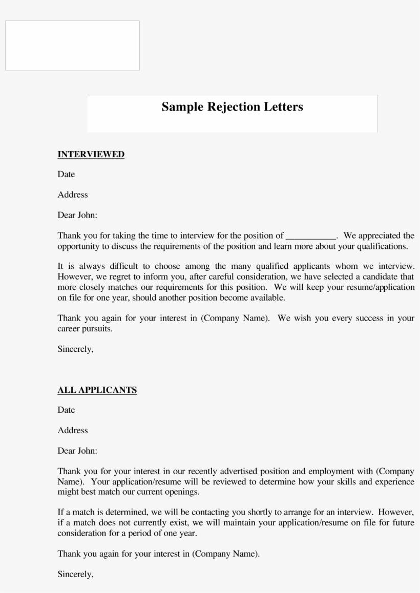 Job Applicant Rejection Letter Sample Valid Free Job Sample Applicant Denial Letter For Job 2550x3300 Png Download Pngkit