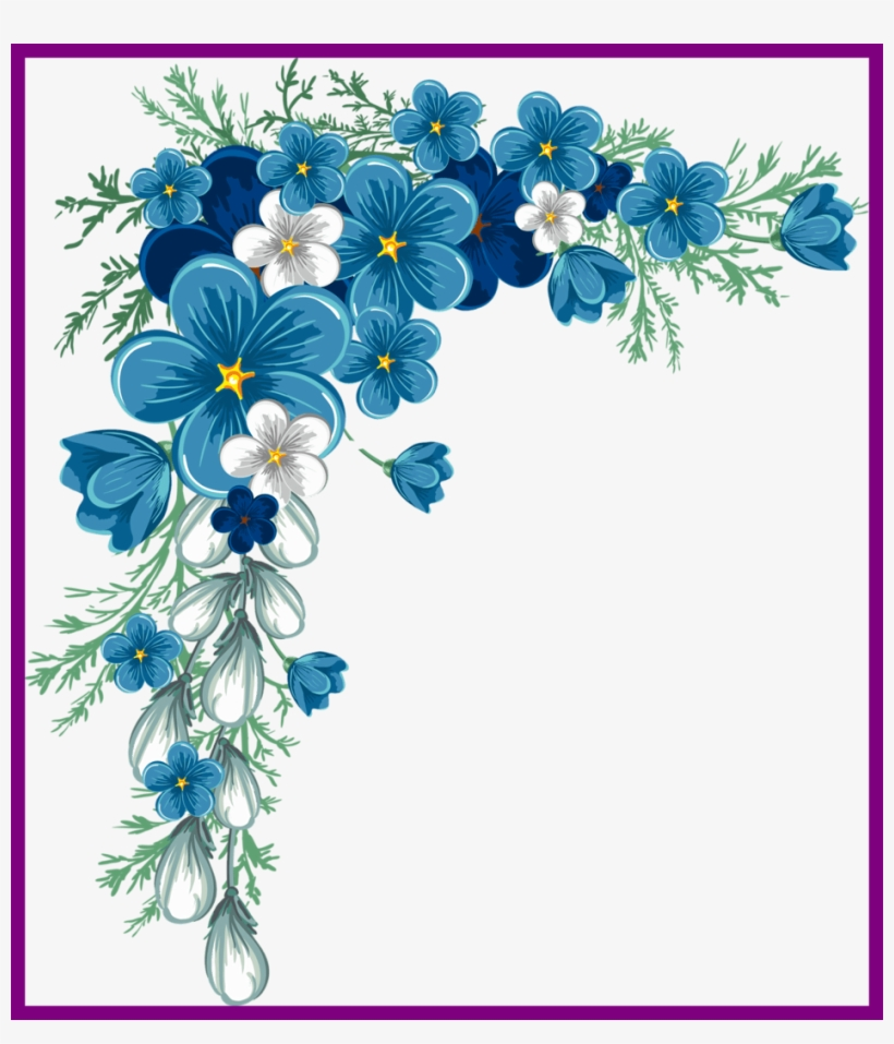 Rose Flower Design Corner Rose Flower Design Png Unbelievable Blue Flower Border Design 942x1054 Png Download Pngkit