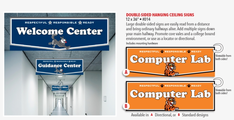 Double Sided Hanging Ceiling Signs