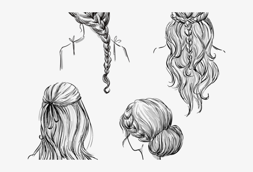Drawn Braid Hand Drawn Braided Hairstyles How To Draw Different Hairstyles 640x480 Png Download Pngkit