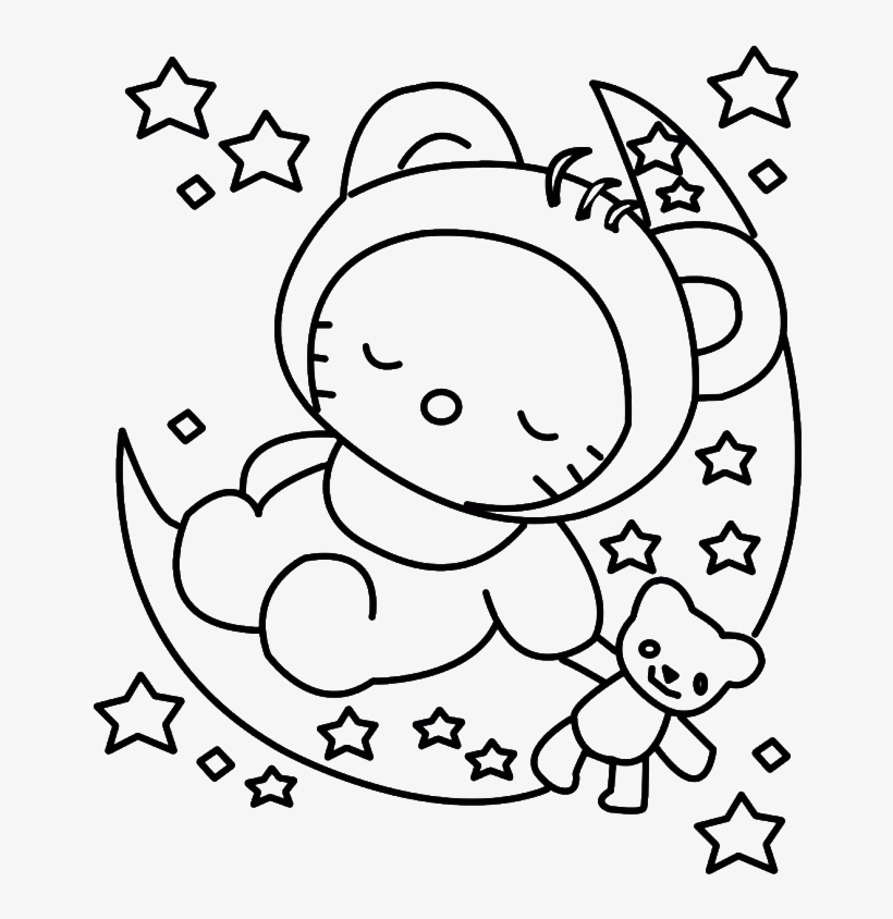 Hello Kitty Sleeping Colouring Pages Baby Hello Kitty Coloring Pages 700x893 Png Download Pngkit