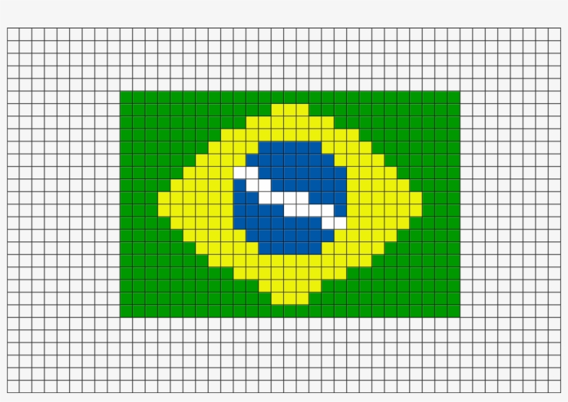 Flag Of Brazil Pixel Art From Brikbook Brasil Pixel Art