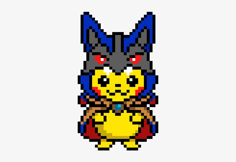 Pikachu In A Lucario Cloak Lucario Pokemon Pixel Art