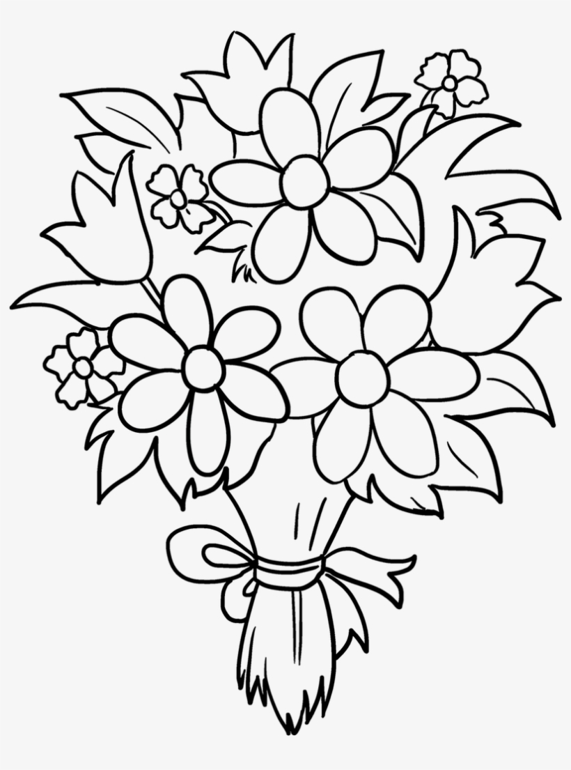 Draw Bunch Of Flowers Bunch Of Flowers Drawing Flower Easy Drawing Of Bouquet 848x1200 Png Download Pngkit