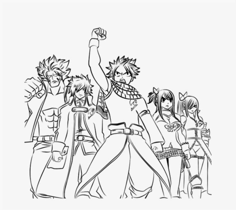 Fairy Tail Coloring Pages Anime - Line Art, HD Png Download ... | 730x820