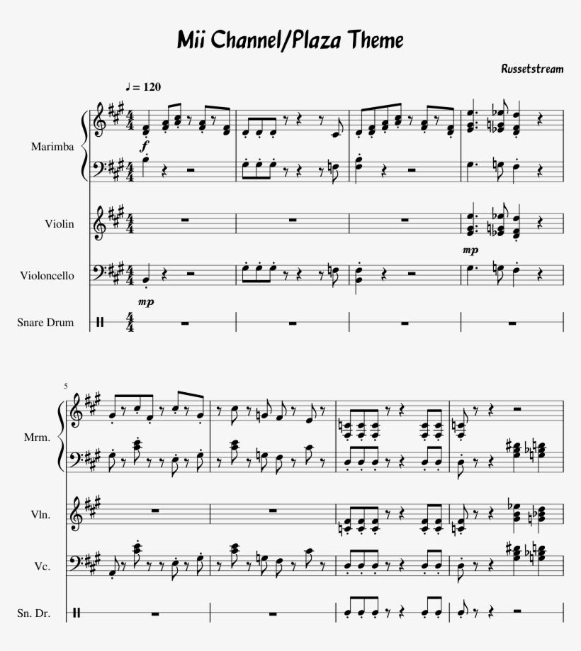 Mii theme sheet music bass clarinet