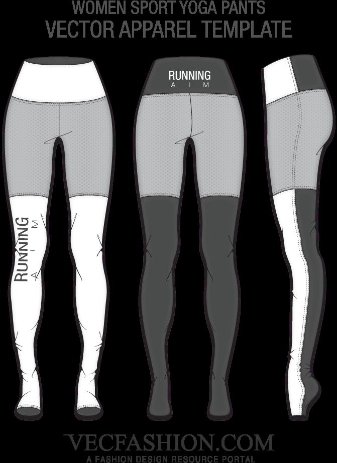 Download Freeuse Library Flat Drawing Leggings Yoga Pants Design Template Full Size Png Image Pngkit