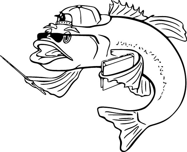 Download Black Teacher Outline White Cartoon Bass Fish