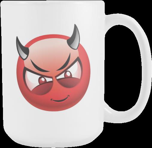 Download Devil Emoji 15oz Coffee Mug - Devil Emoji Png - Full Size