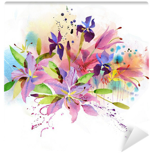 Download Floral Background With Watercolor Flowers Wall Mural