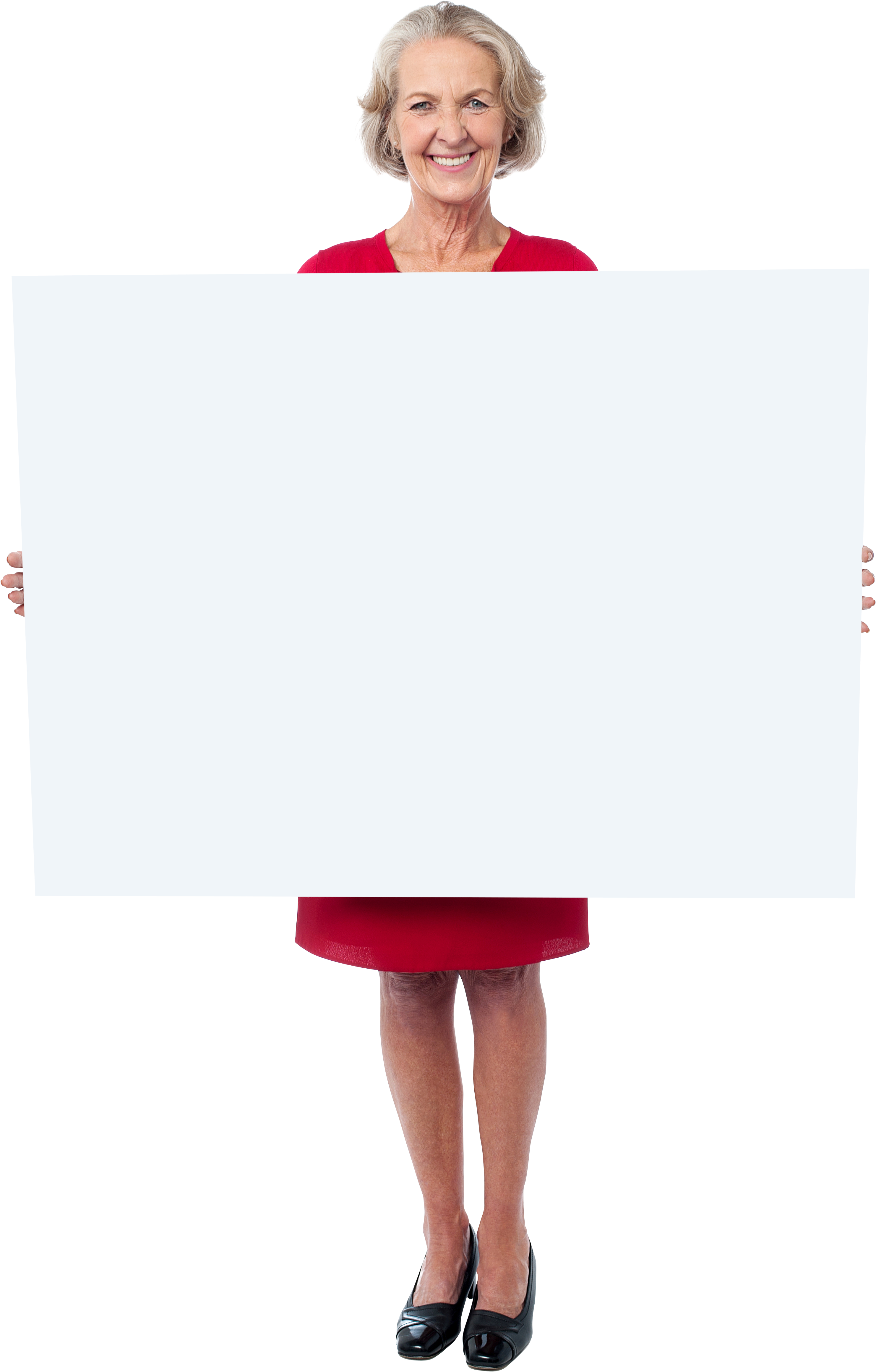 Download Old Women Holding Banner Png - Woman Holding A Sign