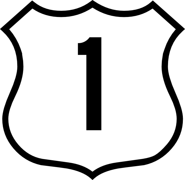 One Route 1 Sign Png Full