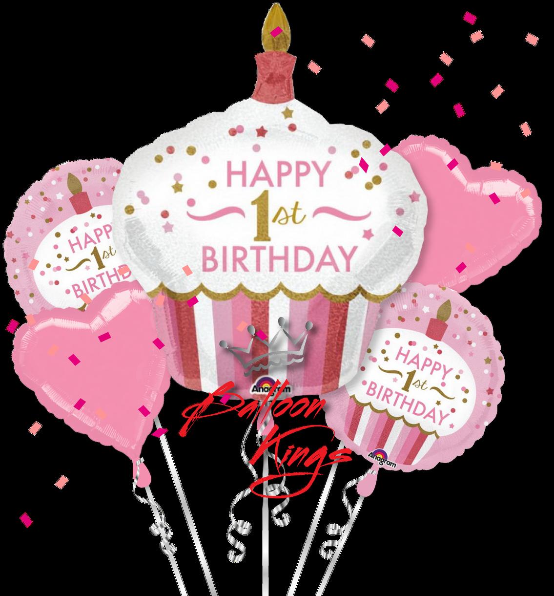Download 1st Birthday Girl Cupcake Bouquet - 36