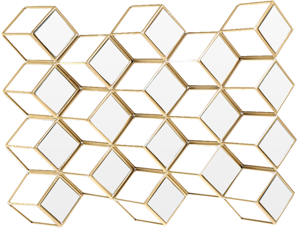 Download Retro Gold Diamond Grid Wall Mirror Full Size Png Image Pngkit