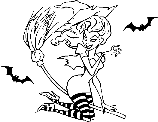 Download Witch Flying On Her Broomstick Coloring Page Dessin De Sorciere Sur Son Balai Facile Full Size Png Image Pngkit