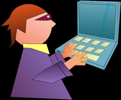 Computer Nerd Boy Using Computer - Royalty Free Clip Art Image
