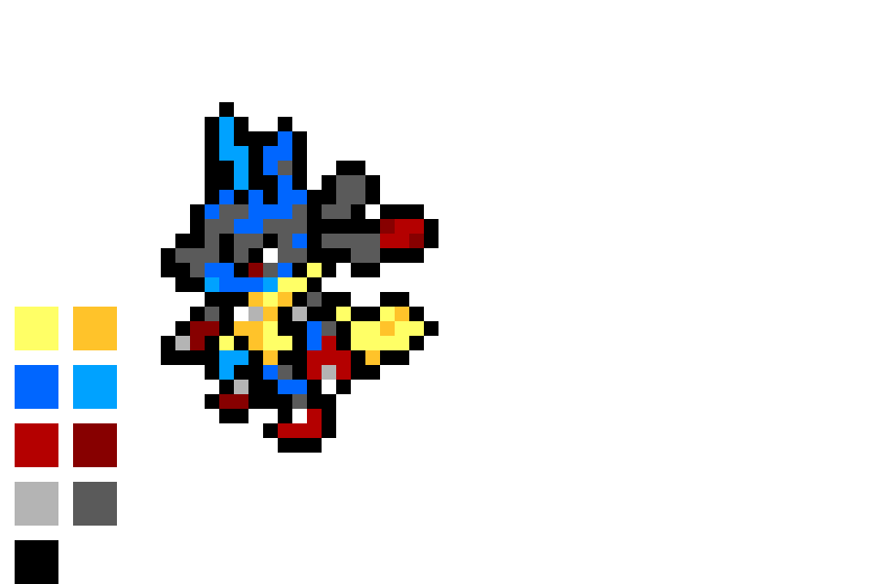 Download Mega Lucario Pixel Art Pokemon Facile Mega