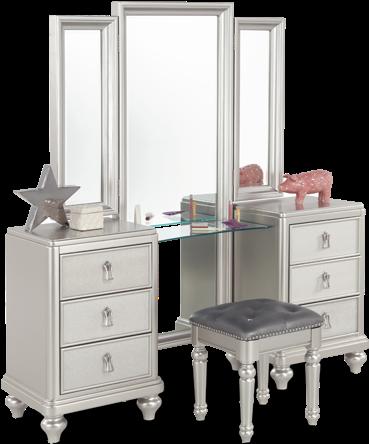 Download Diva Vanity Dresser & Stool - Bobs Furniture Silver ...