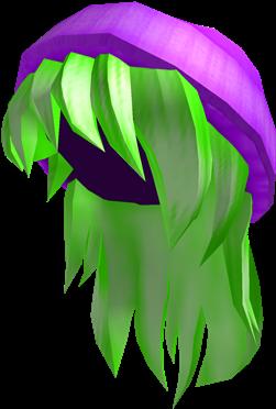 Download Purple Beanie With Neon Green Hair Cute Roblox Girl