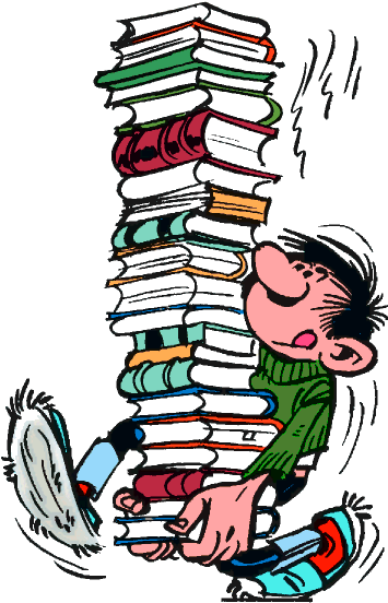 Biblio 26 - Gaston Lagaffe Pile De Livres (412x582), Png Download