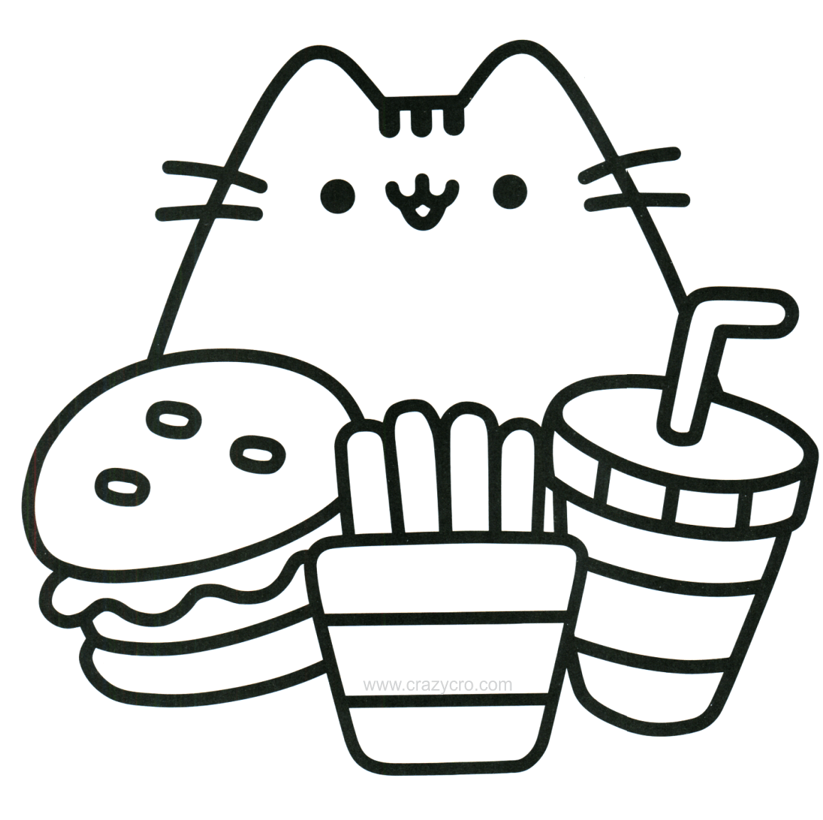 - Download Cat With Food Coloring Page - Mini Pusheen Coloring Book