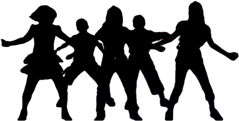 Download Group Dancing Silhouette Png Picture Black And White Dance Team Clipart Full Size Png Image Pngkit