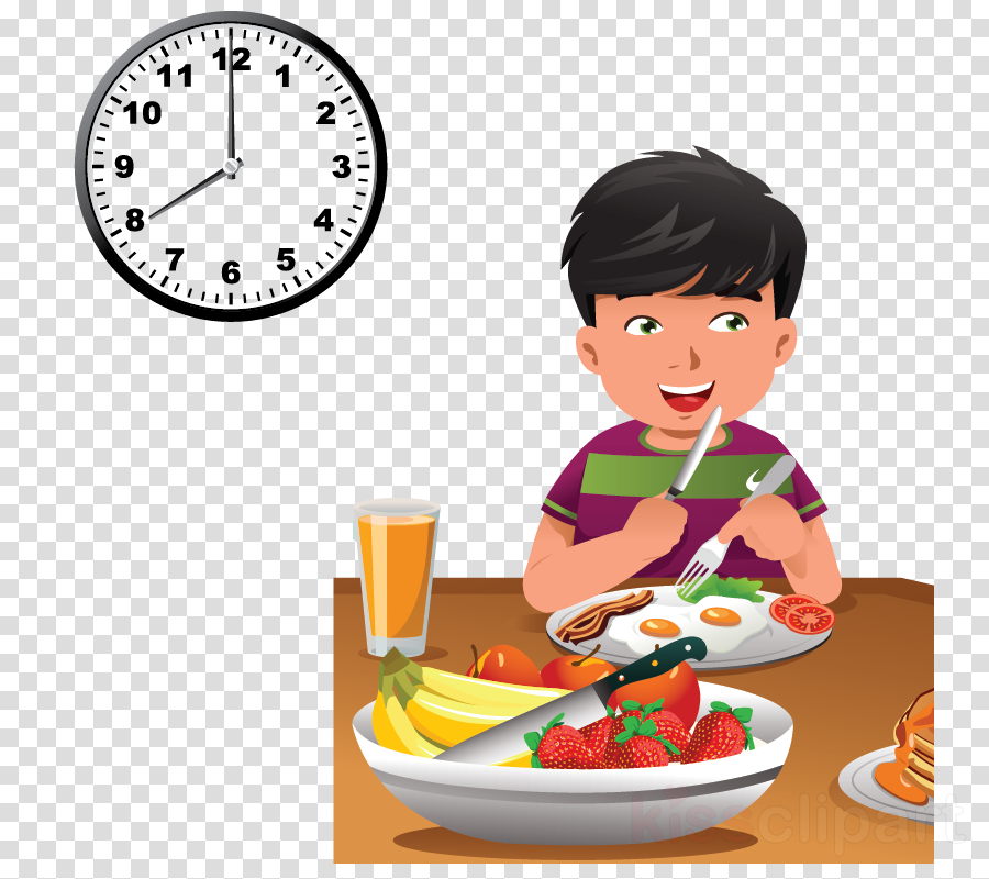 Download Child Eating Healthy Food Cartoon Clipart Breakfast Have Breakfast At 8 O Clock Full Size Png Image Pngkit