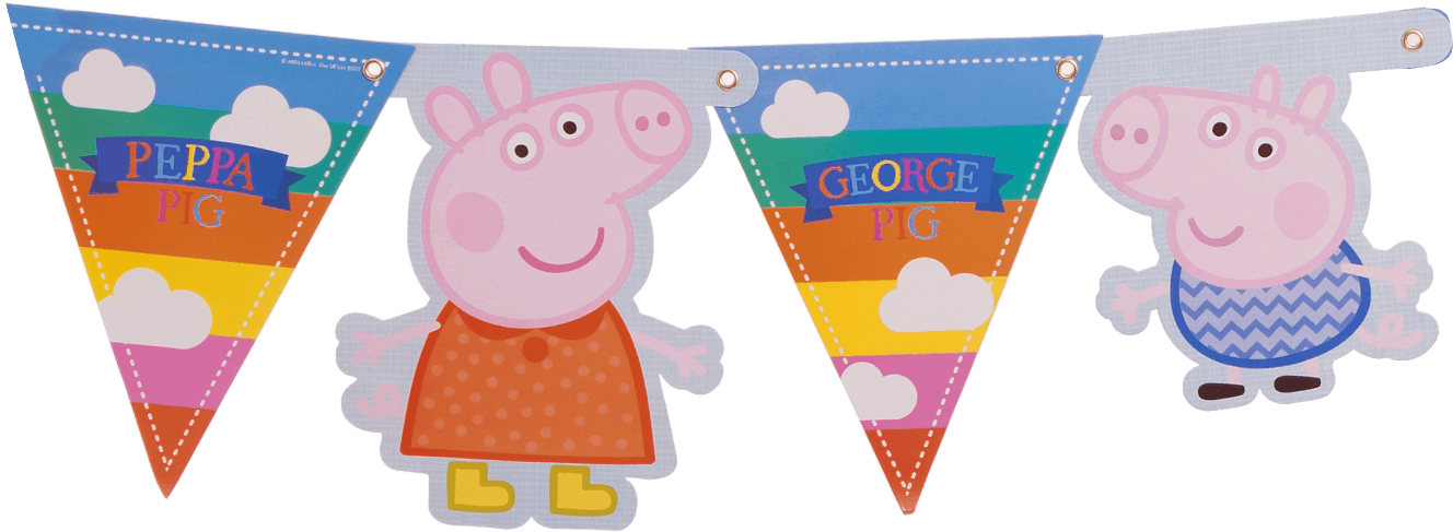 Download Peppa Pig Banner Peppa Pig Summer Fun Pennant Banner Decoration Full Size Png Image Pngkit
