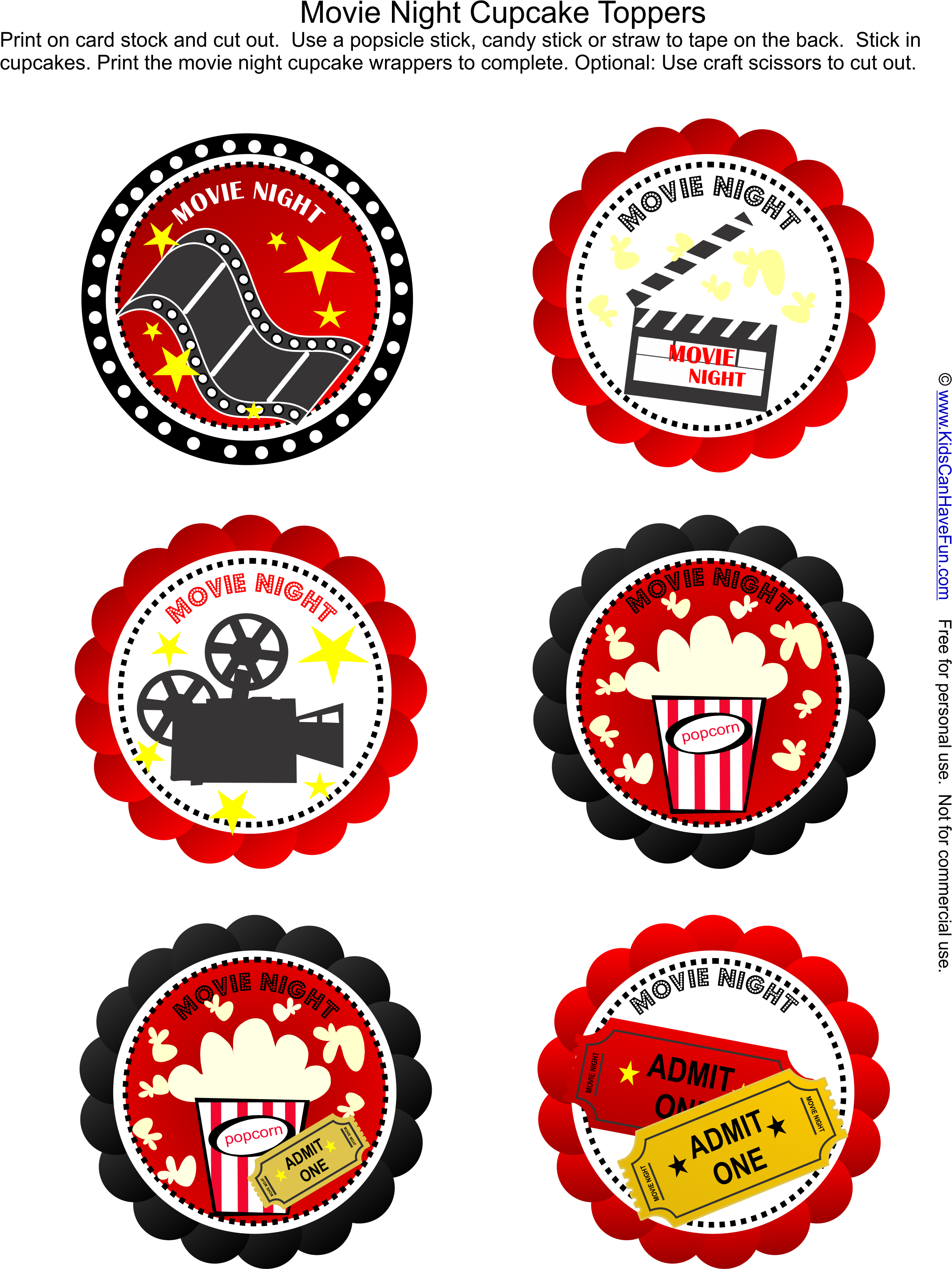 Download Free Movie Night Party Cupcake Toppers Just Add The