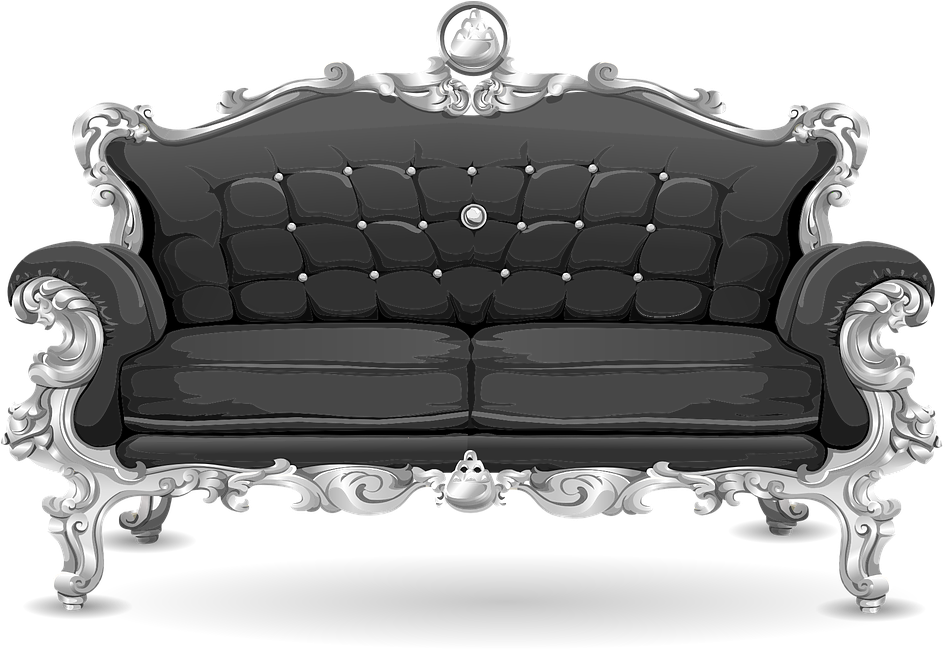 Download Couch Sofa Loveseat Black Ornate Cushions Png Sofa