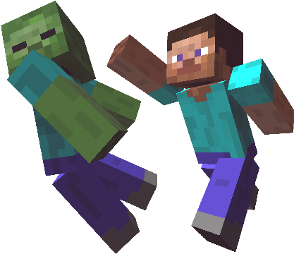 Download Get The Timing Right And You Ll Be Taking Down Monsters Minecraft Steve Fighting Zombies Full Size Png Image Pngkit
