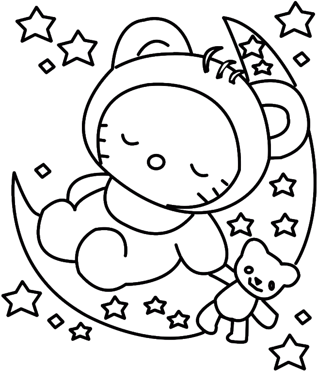 Download Hello Kitty Sleeping Colouring Pages - Baby Hello ...