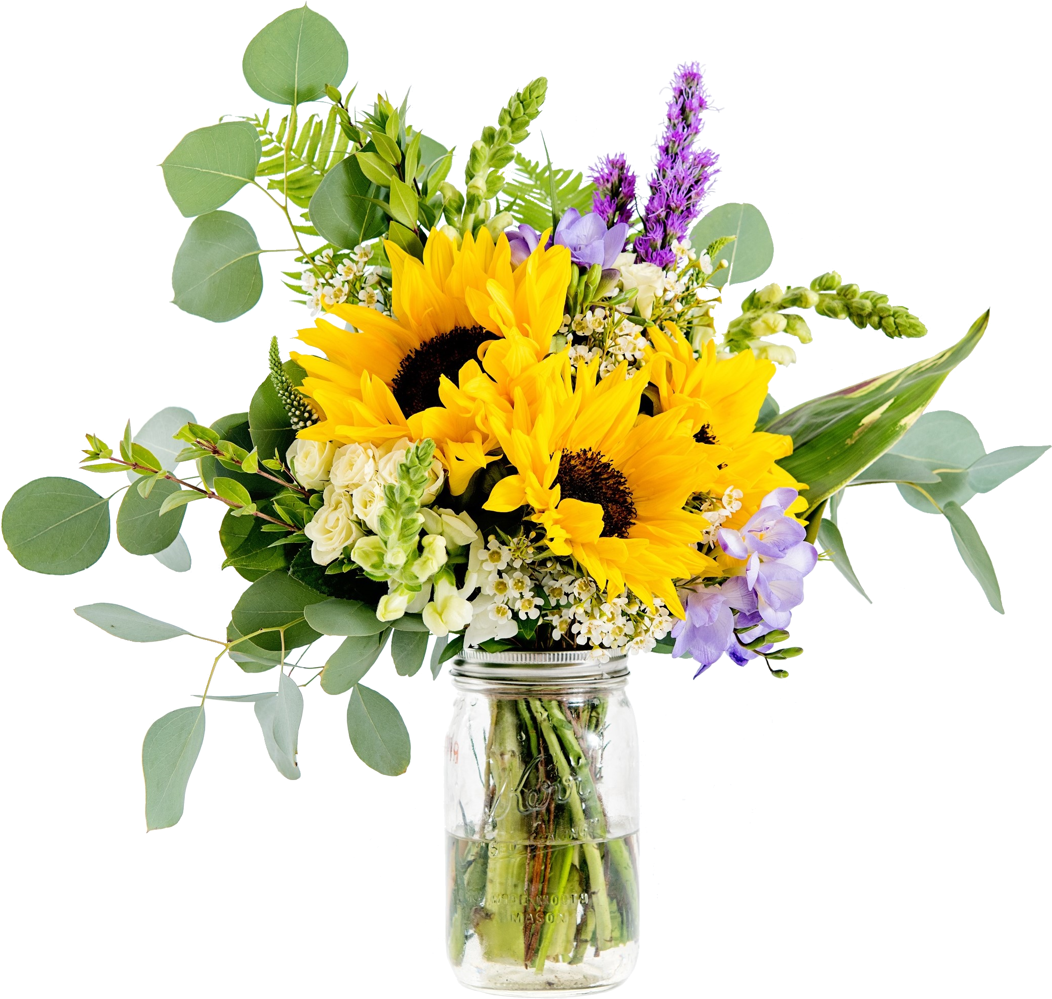Download This Little Bunch Includes Sunflowers Eucalyptus Bouquet Full Size Png Image Pngkit