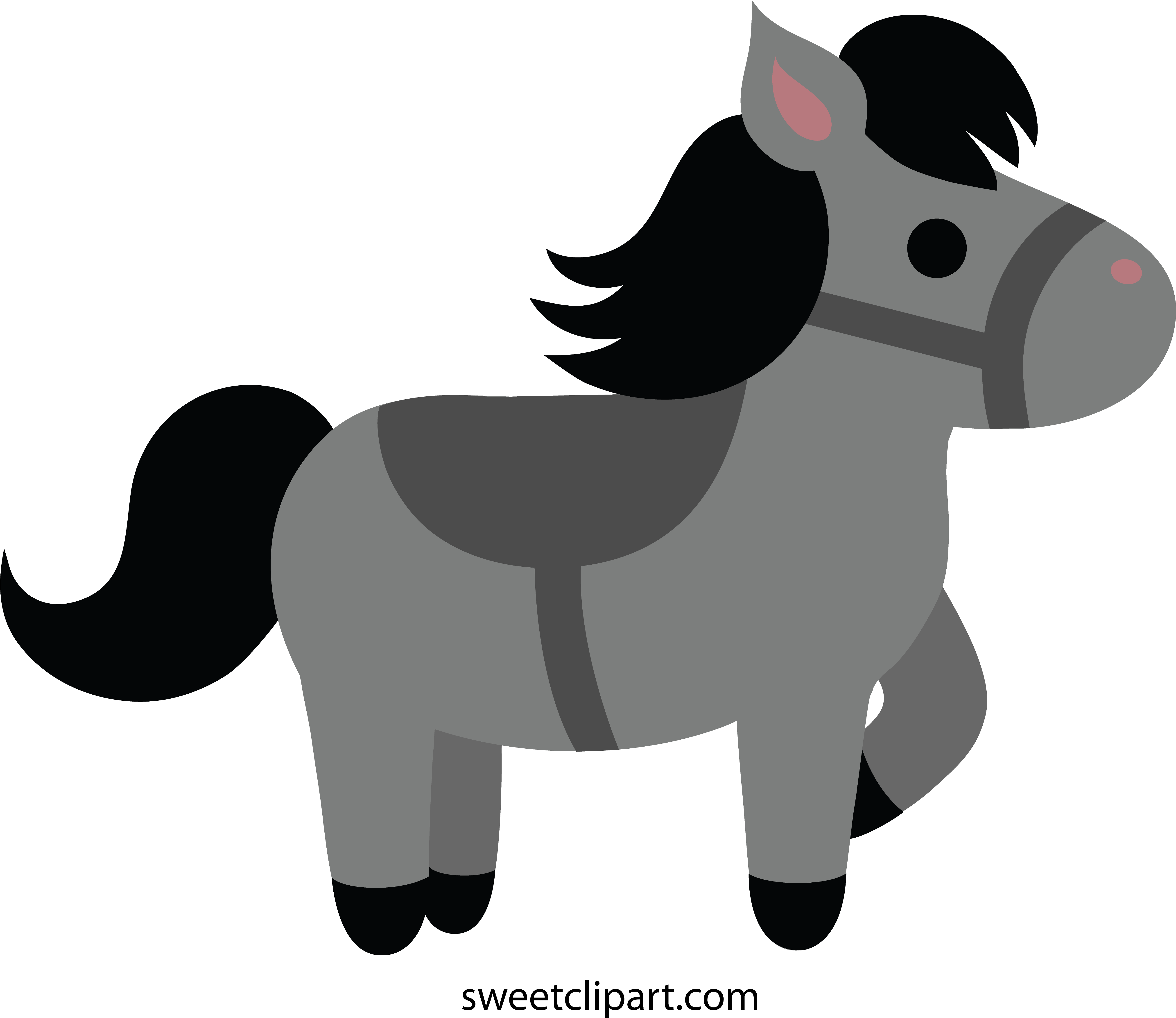 Download Horse Clipart Grey Cute Black Horse Clipart Full Size Png Image Pngkit