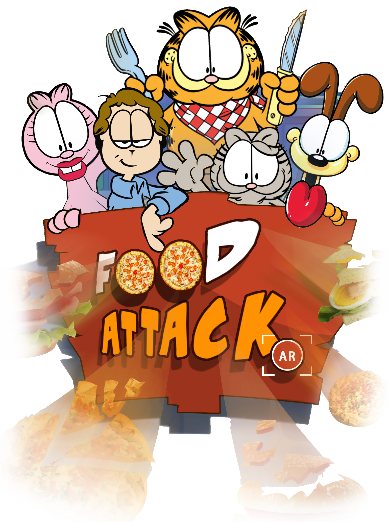 Download World S 1st Garfield Shaped Pizza Garfield Eating Lasagna Full Size Png Image Pngkit
